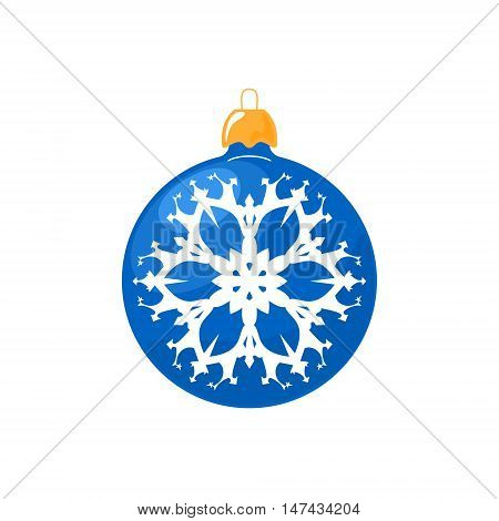 Christmas Blue Ball, Ball with Snowflake Isolated on White Background , Christmas Tree Decoration, Merry Christmas and Happy New Year, Vector Illustration