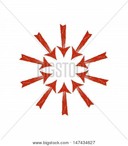 Circle of red grunge arrows. Vector illustration