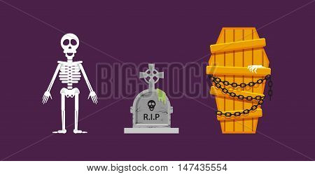 Stock vector illustration a skeleton, a wooden coffin with chains, a stone tombstone for halloween in a flat style
