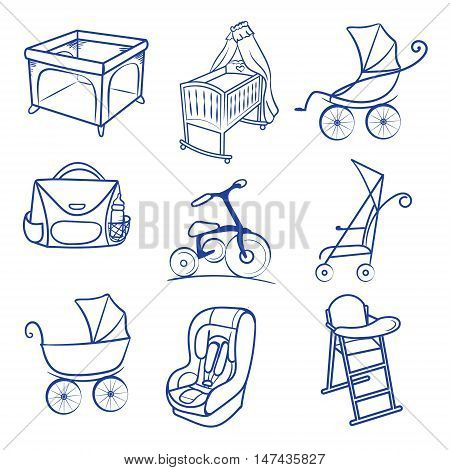 Baby accessories icon set. line sketch , Hand drawn Baby chair for feeding, pram, baby car seat, bag, bisycle, playpen