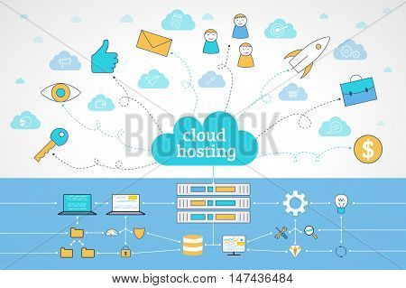 Modern line style concept for web banners. Flat line design vector illustration concepts for base networking. Computer network technology website banner. Cloud hosting