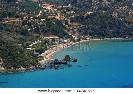 Aerial view on Zakynthos Greece poster