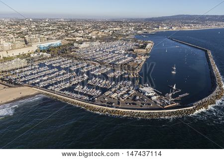 Redondo Beach, California, USA - August 16, 2016:  Aerial view of Redondo Beach Marina and breakwater near Los Angeles, California.