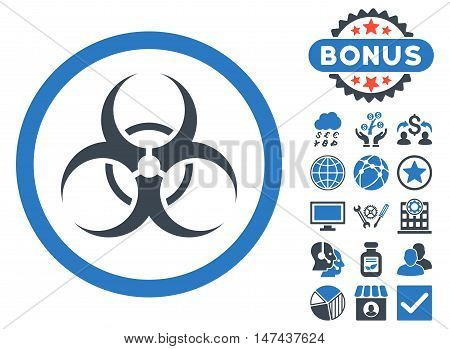 Biohazard Symbol icon with bonus symbols. Vector illustration style is flat iconic bicolor symbols, smooth blue colors, white background.