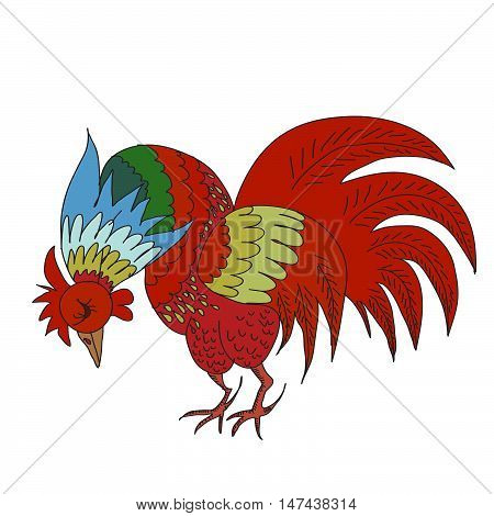 Hand drawn vector background with rooster. 2017 is the year of Red Fire Chicken on Chinese zodiac. Can use them for greeting card, prints, calendar, poster, wrapping.