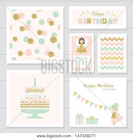 Cute cards with gold confetti glitter for girls. Can be used for baby shower birthday valentines day party invitation. For print and web. Pastel colors.