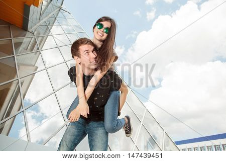 Happy Laughing Cool Looking Young Couple