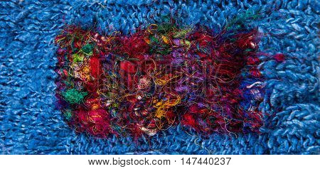 striped colorful wool texture handmade patten closeup macro blue red green yellow