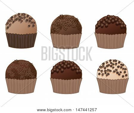 an illustration of a selection of chocolate truffles with various decorations on a white background