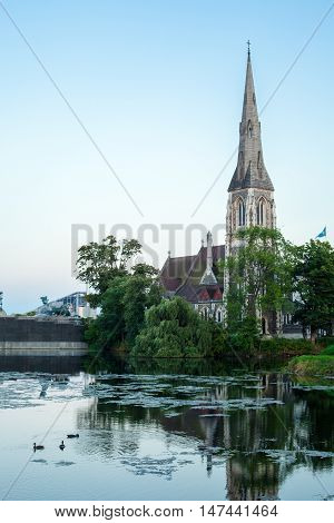 View of St. Alban's Church with a Lake at Copenhagen