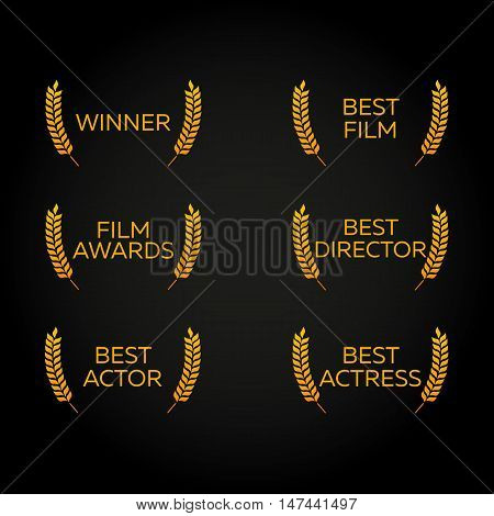 Film Festival set. Laurel. Winner, Best film, director, actor, actress. Film Awards Winners. Film awards logo. Cinema. Vector illustration.