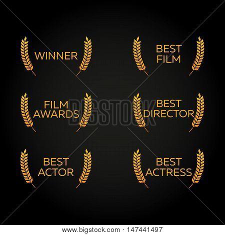 Film Festival set. Laurel. Winner, Best film, director, actor, actress. Film Awards Winners. Film awards logo. Cinema. Vector illustration.