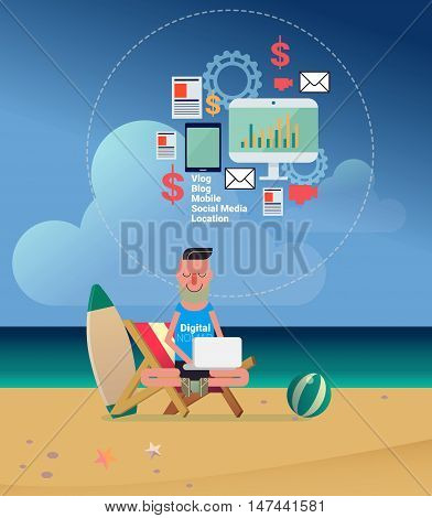 Digital Nomads Concept Vector Illustration