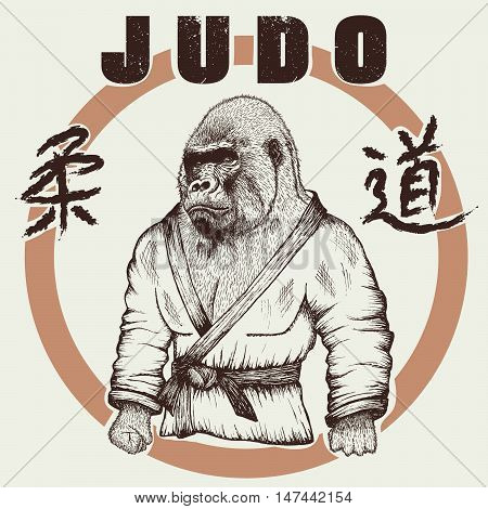 Judoka gorilla dressed in kimono. Hand drawn style.Label for judo.Japanese writing