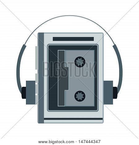 Audio Cassette Player. Retro Music Gadget From 21-st Century. Old Musical Device Vector Illustration