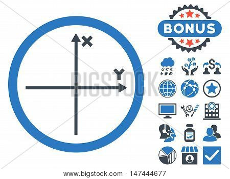Cartesian Axis icon with bonus pictures. Vector illustration style is flat iconic bicolor symbols, smooth blue colors, white background.