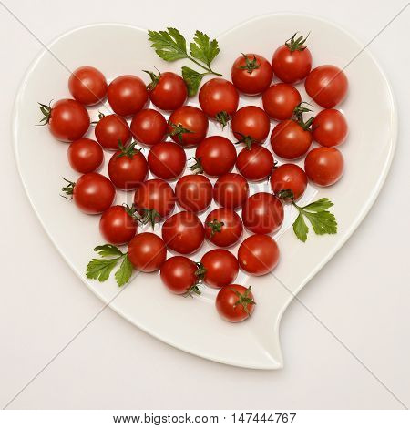 Heart Shaped Plate And Tomatoes