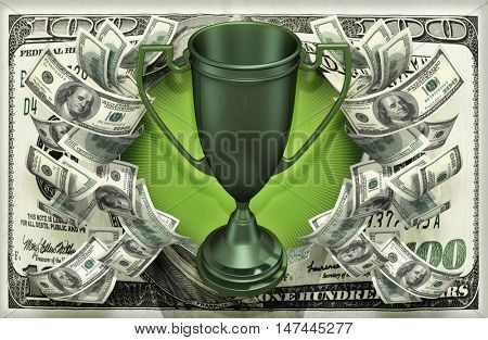 Trophy With Money 3D Illustration
