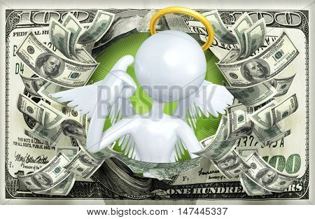 Angel Character With Money 3D Illustration