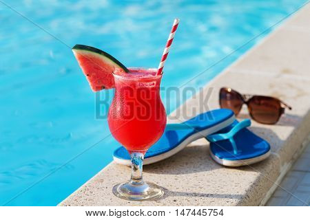 Water Melon Fresh Juice Smoothie Drink Near Swimming Pool