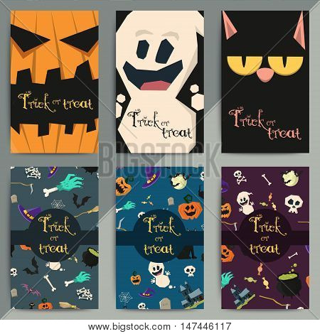 Halloween Party Cartoon Greeting Cards. All Hallow Eve Invitation Flyer Design. All Saints Holiday B