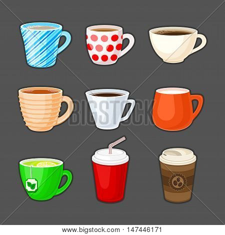 Set of colorful cups with different drinks. Cup of coffee, tea, green tea, milk, cappuccino, latte, espresso, cocoa, soda, coffee to go. Vector illustration.