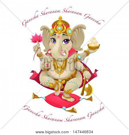 Cartoon representation of eastern god Ganesha, with mantra. Vector isolated character.