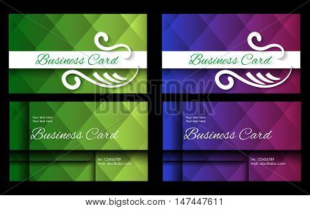 business card in two variants of green and blue tones