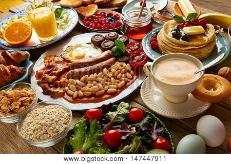 Breakfast buffet full continental and english coffee orange juice salad croissant fruit