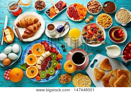 Breakfast buffet healthy continental coffee orange juice fruit salad croissant