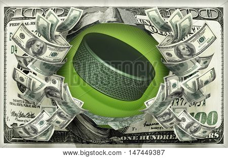 Hockey Puck With Money 3D Illustration