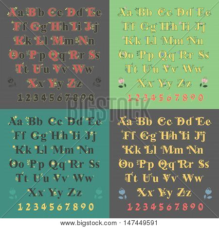 Artistic bucolic alphabets with floral decor. Black font with yellow decor. Yellow font with watercolor flowers. Bright numerals. Vector illustration