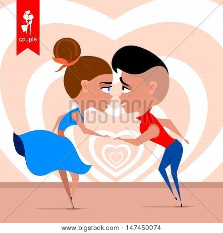 couple dancing. Color background with heart. flat illustration. vector
