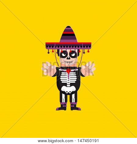 Stock vector illustration a Dead Mexican character for halloween in a flat style