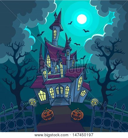 Halloween vector illustration with scary house, moon and pumpkin. Background with haunted house to dark night. Horror and creepy landscape.