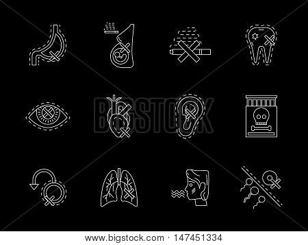 Harmful of smoking concept. Symbols of cigarette danger and hazards for human health and life. Flat white line vector icons collection on black.
