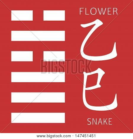 Symbol of i ching hexagram from chinese hieroglyphs. Translation of 12 zodiac feng shui signs hieroglyphs- flower and snake.