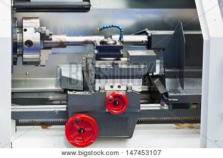 Industrial CNC Toolroom Lathe, color image, close up