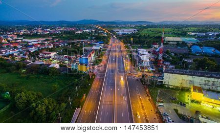Aerial view of Hightway Lamphun Industrial Estate northernLamphunthailand.