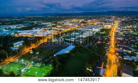 Aerial view of Industrial Estate northern,Lamphun thailand.