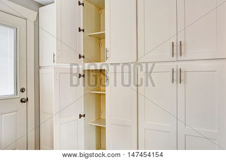 White Big Wooden Storage Combination For Kitchen Room