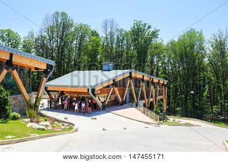 Sochi, Russia - MAY 22, 2016: building of cashbox, bungy-bar and gift shop of the SKYPARK AJ Hackett Sochi, in the Sochi National Park, a scenic location Ahshtyrskaya gorge in the Mzymta river valley