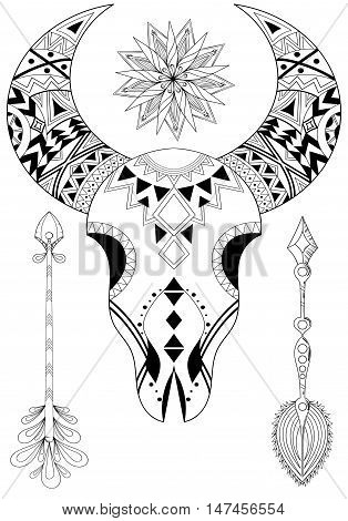 Zentangle Animal Skull with Sun and Arrows. Hand drawn ethnic tattoo for adult coloring pages art therapy boho t-shirt patterned print posters t-shirt. Vector isolated illustration. A4 size.
