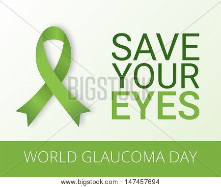 World Glaucoma Day background with green ribbon. Vector illustration. Fighting blindness cataract vision impairment. Eye health concept. Creative flyer poster template for ophthalmology.