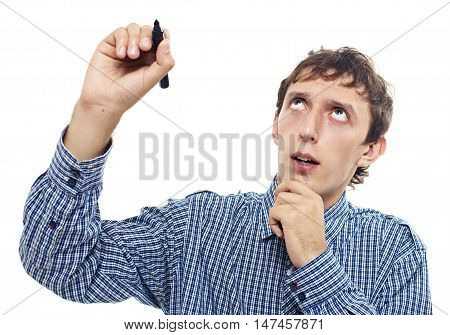 diligent student ponders with a marker in hand. guy writing or drawing something on glass board with marker. isolated on white background. empty space for your text