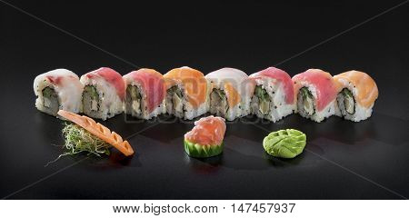 Fresh Uramaki sushi rolls. Mix colorful sushi