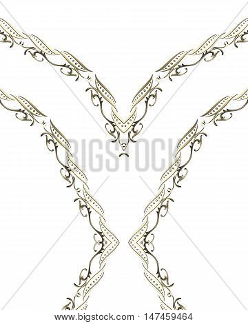 Gold Ribbon With Ornaments. Template For Design. Copy Space For Ad Brochure Or Announcement Invitati