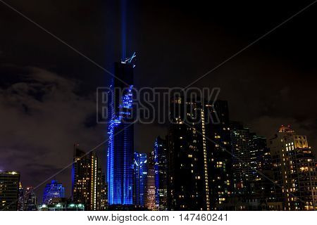 Bangkok Thailand- August 29 2016: The nightlight of Bangkok cityscape for celebrating Mahanakhon skyscraper building is officially opening by recorded the tallest building in Thailand.