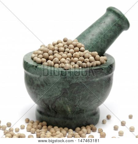 Organic White Pepper (Piper nigrum) on marble pestle and over white background.