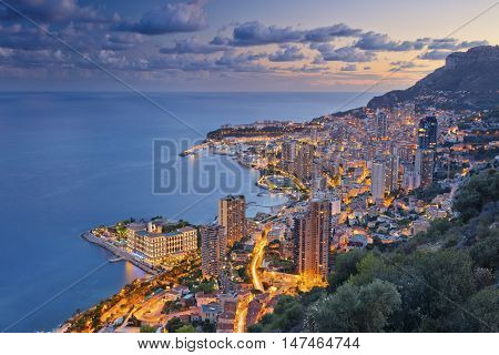 Monaco. Image of Monte Carlo, Monaco during summer sunset.